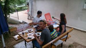 holiday home kornelija -    rear wooden bench1