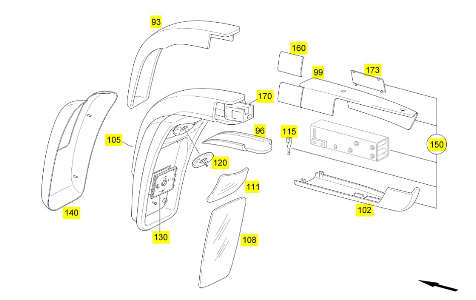 mercedes tourismo mirror parts